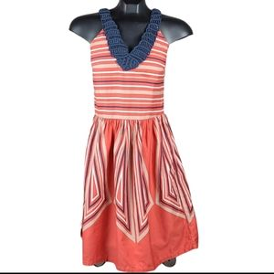 PLAINS & PRINTS Dress Orange Blue Midi Stripes